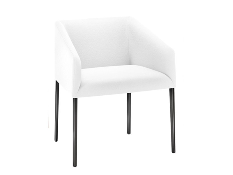 Upholstered restaurant chair with armrests SAARI | Chair with armrests by arper