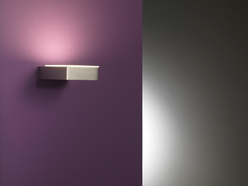 LED glass and aluminium wall lamp NEXT STEP E by Lombardo