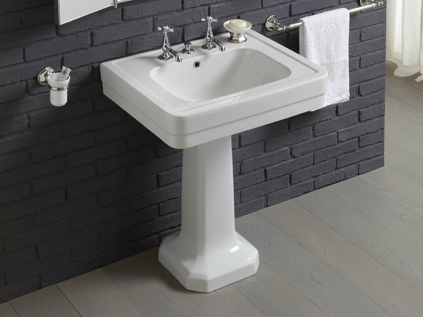 Rectangular pedestal ceramic washbasin PROVENCE '900 | Single washbasin by BLEU PROVENCE