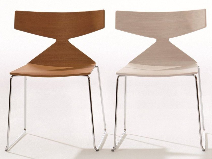 Sled base stackable chair SAYA | Sled base chair by arper