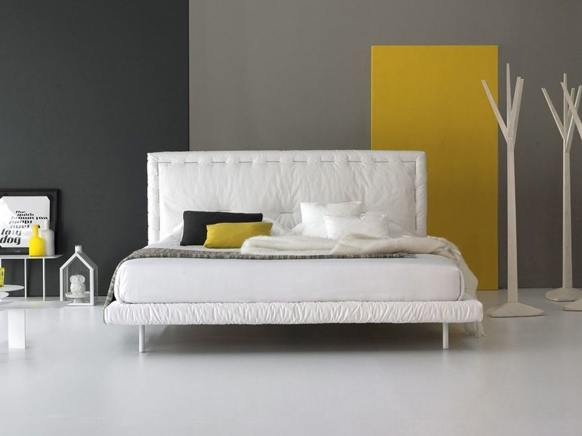 Bed with upholstered headboard EUREKA by Bonaldo