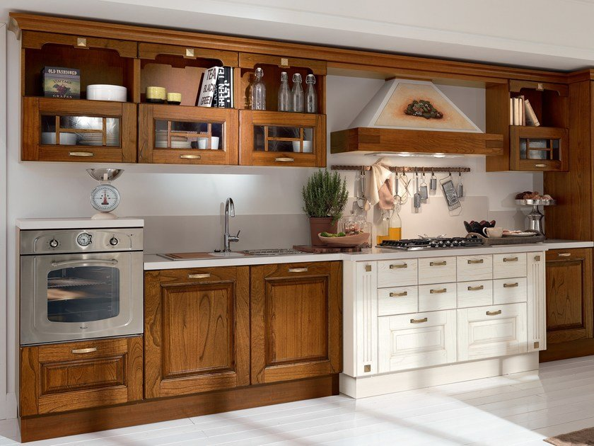 Wooden kitchen with handles LAURA | Wooden kitchen by Cucine Lube