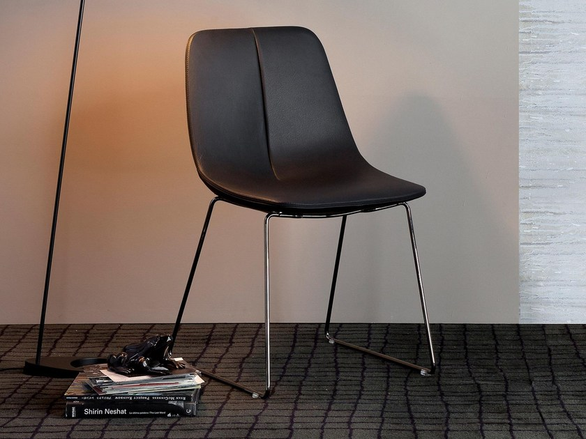 Upholstered leather chair BY SI by Bonaldo