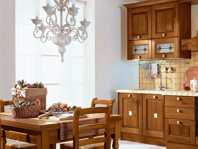Walnut kitchen with handles LAURA | Walnut kitchen by Cucine Lube