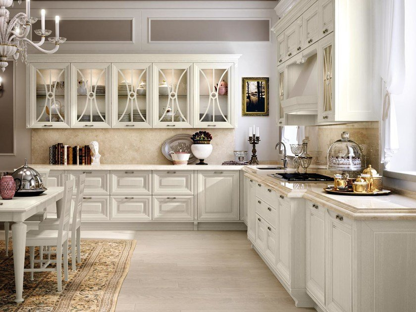 Decapé kitchen with handles PANTHEON | Wooden kitchen by Cucine Lube
