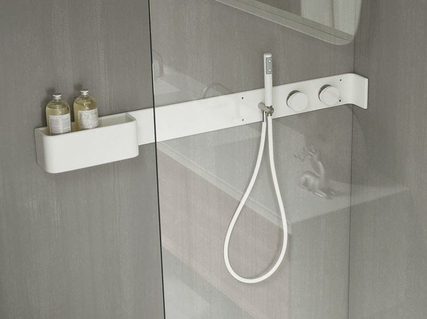 Corian® bathroom wall shelf / shower tap ERGO-NOMIC | Bathroom wall shelf by Rexa Design