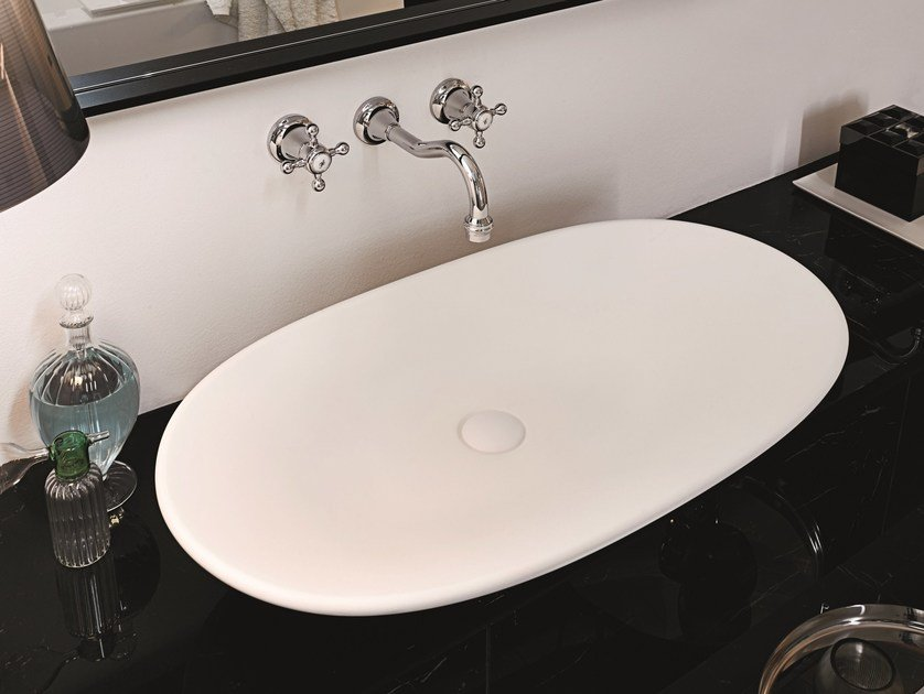 Countertop oval Silkstone washbasin AGORÀ | Countertop washbasin by Kos by Zucchetti