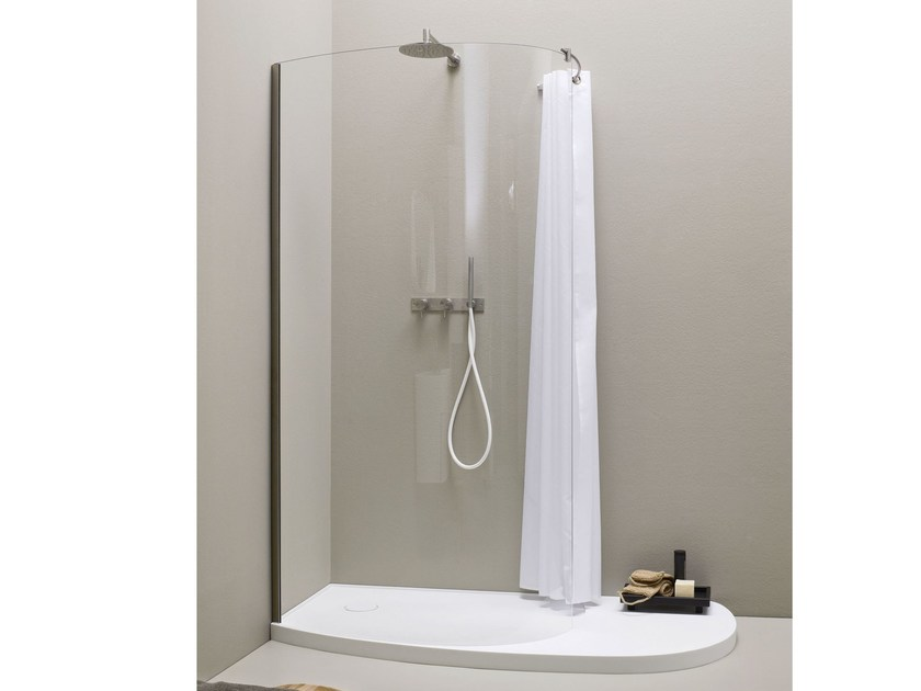 Glass and Stainless Steel shower wall panel FONTE | Shower wall panel by Rexa Design
