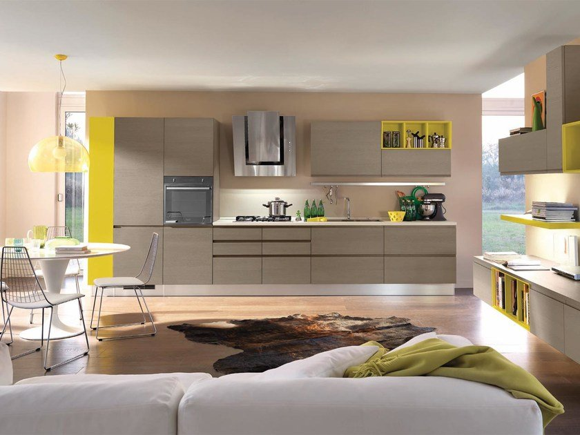 Wooden fitted kitchen without handles LINDA | Kitchen by Cucine Lube