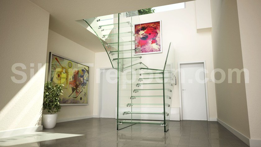 Self supporting Glass and Stainless Steel Open staircase with lateral stringers ALL GLASS LOW IRON | Glass and Stainless Steel Open staircase by Siller Treppen