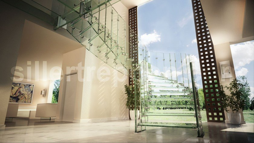 Self supporting Glass and Stainless Steel Open staircase with lateral stringers FLY, ALL GLASS   Glass and Stainless Steel Open staircase by Siller Treppen