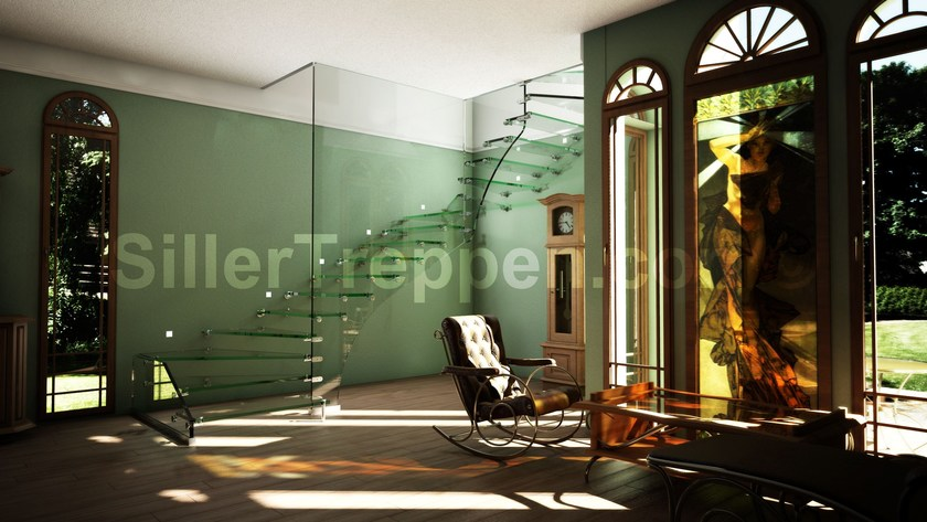 Self supporting glass Open staircase with lateral stringers GLASS STAIR SWITZERLAND | Glass Open staircase by Siller Treppen