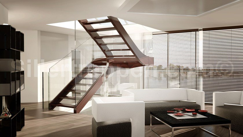 Self supporting Glass and Stainless Steel Open staircase with lateral  stringers MELBOURNE, SELF SUPPORTING STAIRCASE