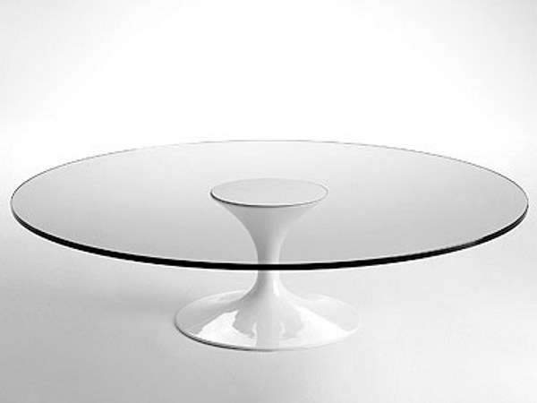 Low round glass and aluminium coffee table SA59/7 | Low coffee table by Matrix International