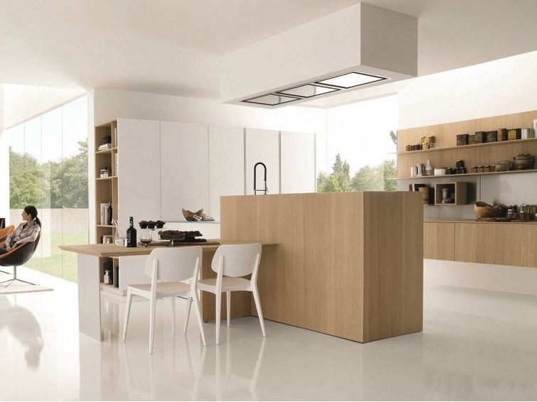 Wooden fitted kitchen KUBIC 3 by Euromobil