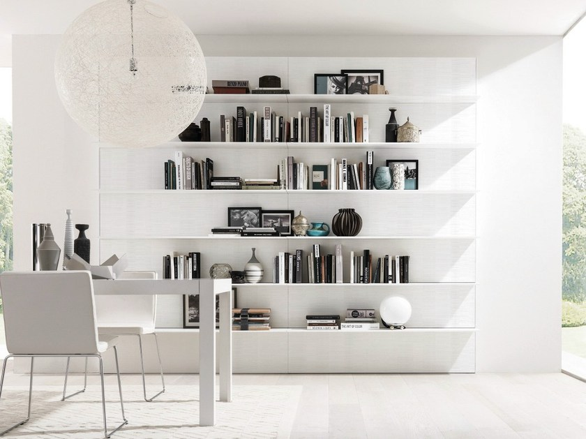 Wall-mounted lacquered bookcase HORIZON + e45 by Euromobil