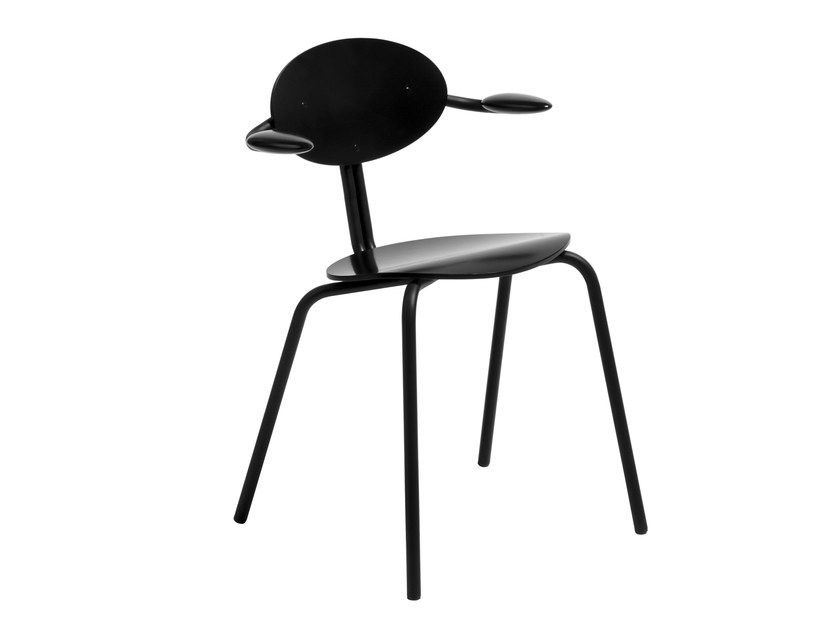 Stackable multi-layer wood chair with armrests LUKKI 5AR by Artek