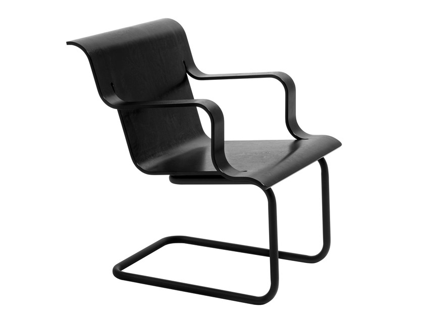 Cantilever easy chair with armrests ARMCHAIR 26 by Artek
