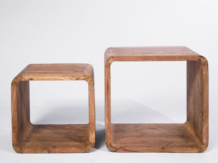 Low wooden coffee table AUTHENTICO CUBE SQUARE by KARE-DESIGN
