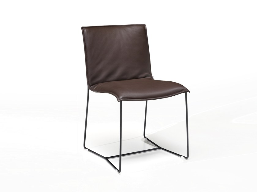 Sled base leather chair with removable cover PIURO | Chair by JORI