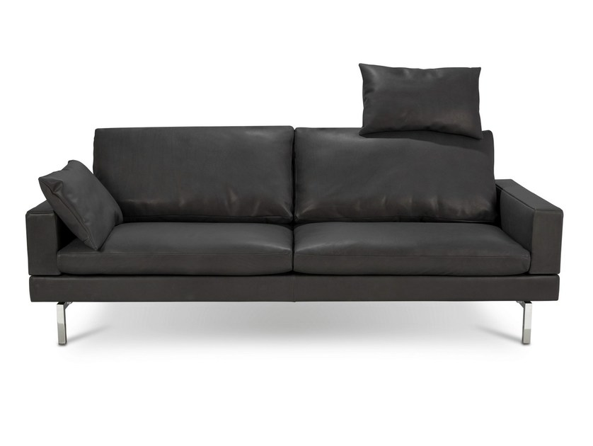 Sofa with removable cover with headrest TIGRA OPEN BASE | 3 seater sofa by JORI