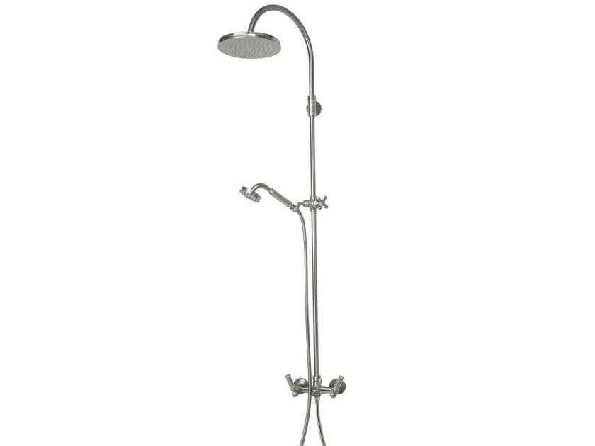 Wall-mounted shower panel with hand shower with overhead shower LIBERTY | Wall-mounted shower panel by Bossini