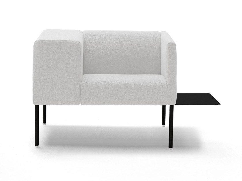 Upholstered guest chair with armrests BRIX by Viccarbe