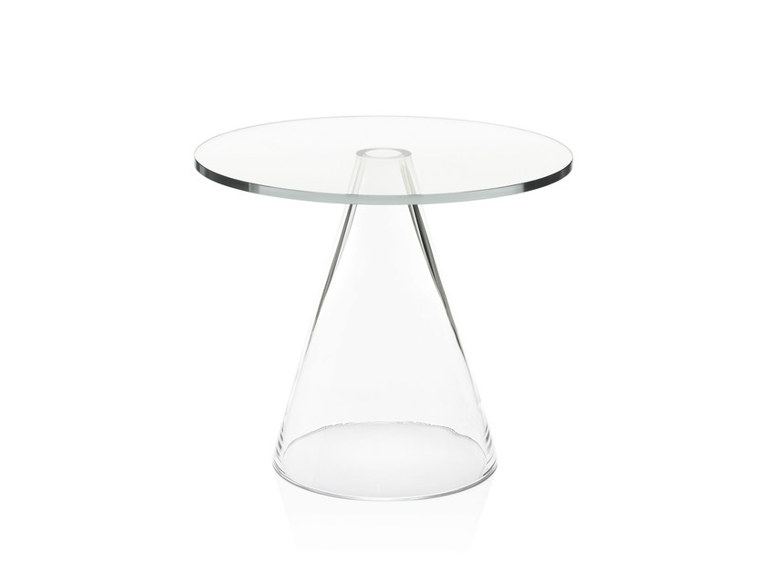 Low table with mouth blown chrystal glass cone SANDER by Massproductions