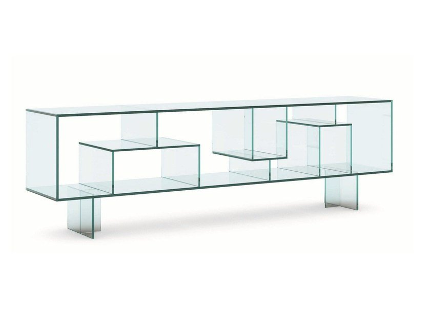 Double-sided glass sideboard LIBER M by Tonelli Design