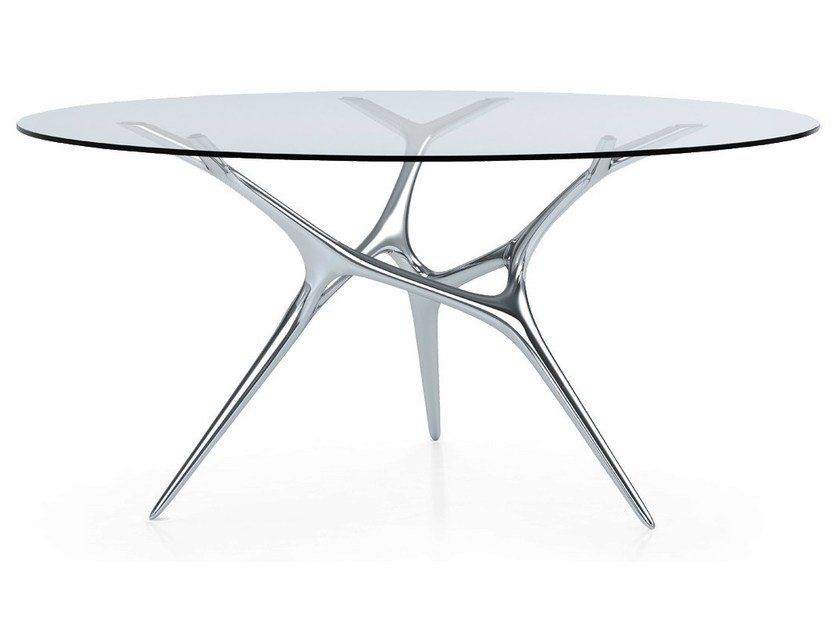 Round Glass And Stainless Steel Table E VOLVED By FueraDentro