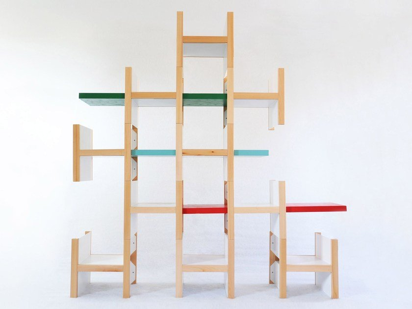 Open sectional wooden shelving unit ACCA by smarin