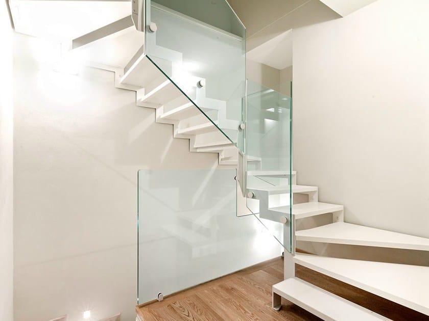 Z shaped open stairs VISTA ZETA by OFFICINE SANDRINI
