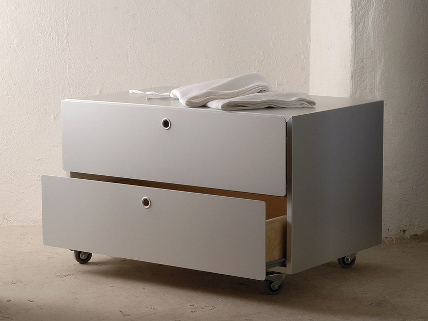Modular aluminium and wood chest of drawers CONTAINERS by KRIPTONITE