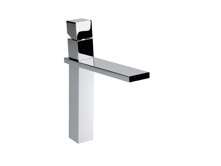 Design chrome-plated countertop single handle brass washbasin mixer CUBE | Washbasin mixer by Bossini
