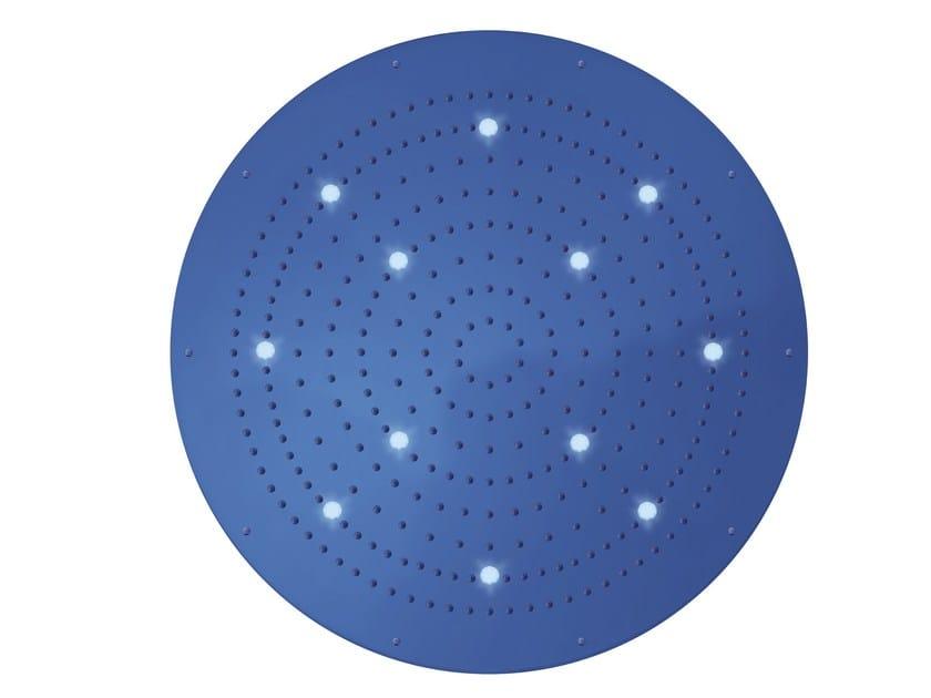 Soffione doccia a pioggia in ottone design con cromoterapia con getto fisso DREAM FLAT OKI XL | Soffione doccia con cromoterapia by Bossini