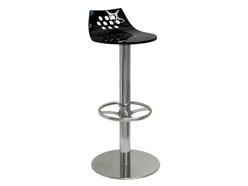 High swivel chrome plated steel stool with footrest SG080FCR | Stool by Vela Arredamenti