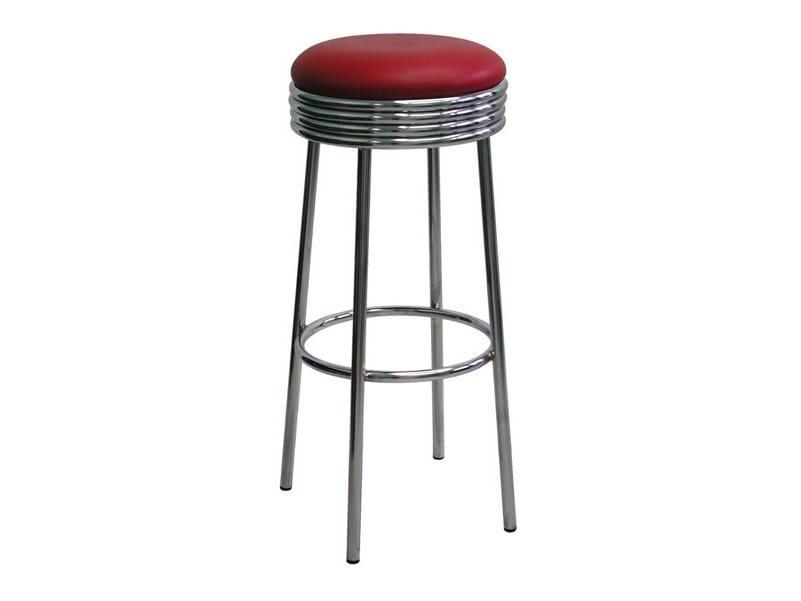 High upholstered chrome plated steel stool SG057CR   Stool by Vela Arredamenti