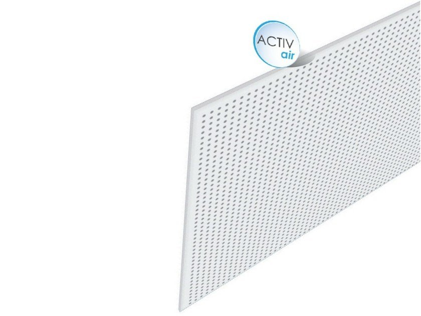 Acoustic plasterboard ceiling tiles Rigitone™ Activ'Air® 10/23 by Saint-Gobain Gyproc