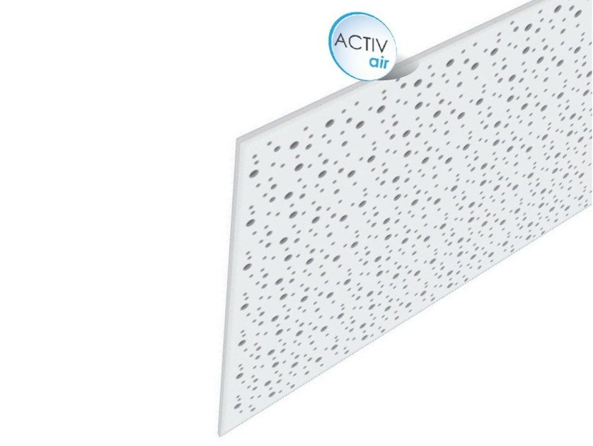 Acoustic plasterboard ceiling tiles Rigitone™ Activ'Air® 8-15-20 SUPER by Saint-Gobain Gyproc