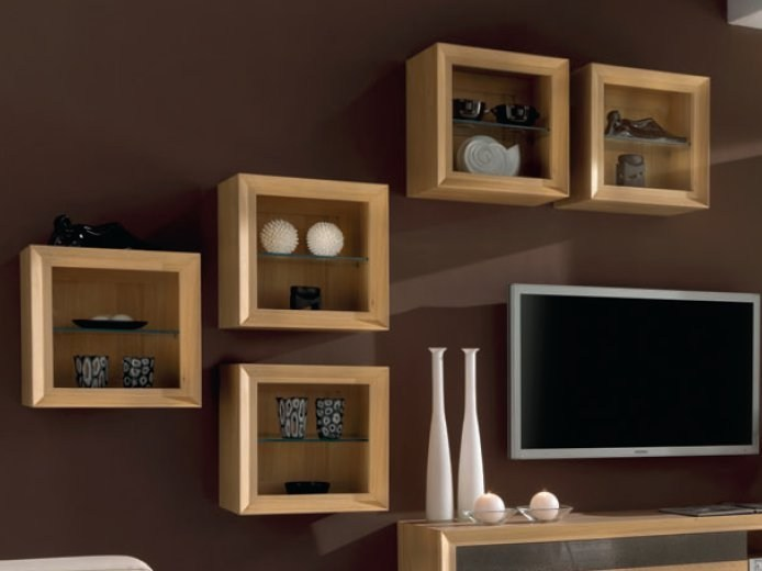 Oak Wall Cabinet With Glass Door Omega By Domus Arte