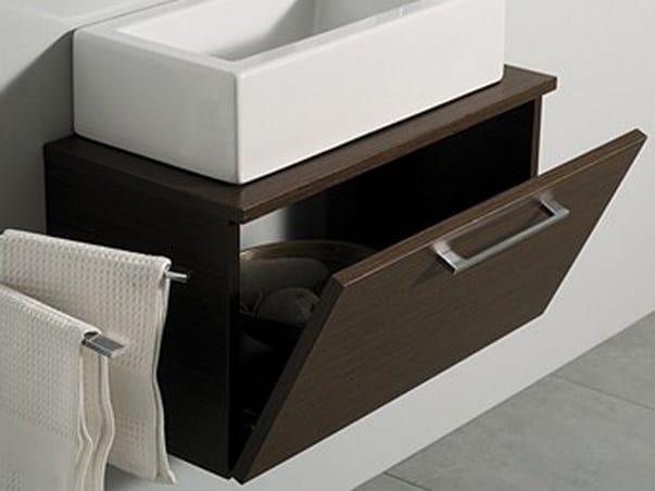 Wall-mounted wooden vanity unit with doors MINI ZEN by Mastro Fiore