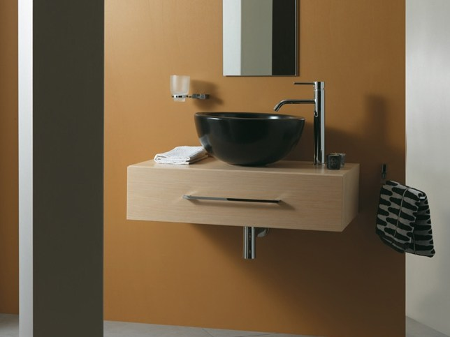 Wall-mounted wooden vanity unit with drawers LESS by Mastro Fiore
