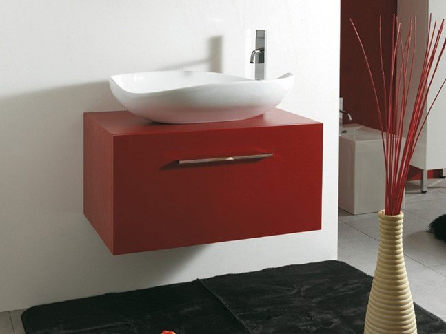 Wall-mounted wooden vanity unit with drawers TOKIO by Mastro Fiore