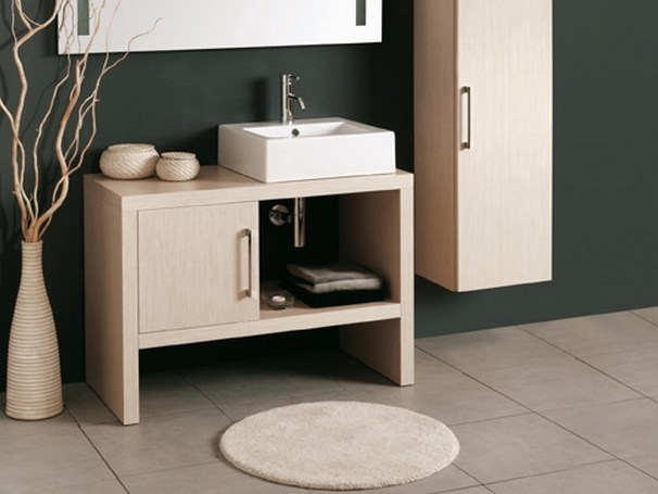Wooden vanity unit with doors BENCH KUBO by Mastro Fiore