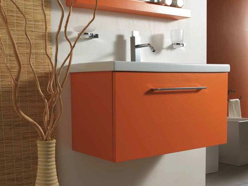 Wall-mounted wooden vanity unit with drawers K80 by Mastro Fiore
