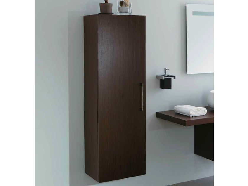 Tall suspended wooden bathroom wall cabinet with doors SYSTEM | Tall bathroom wall cabinet by Mastro