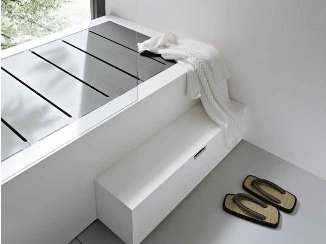 Rectangular Corian® bathtub with shower UNICO | Bathtub by Rexa Design