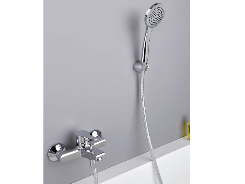 3 hole wall-mounted bathtub mixer with hand shower EUROMADE® | Bathtub mixer by CRISTINA