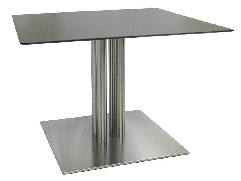 Square stainless steel table SLIM-76-4-T-X by Vela Arredamenti