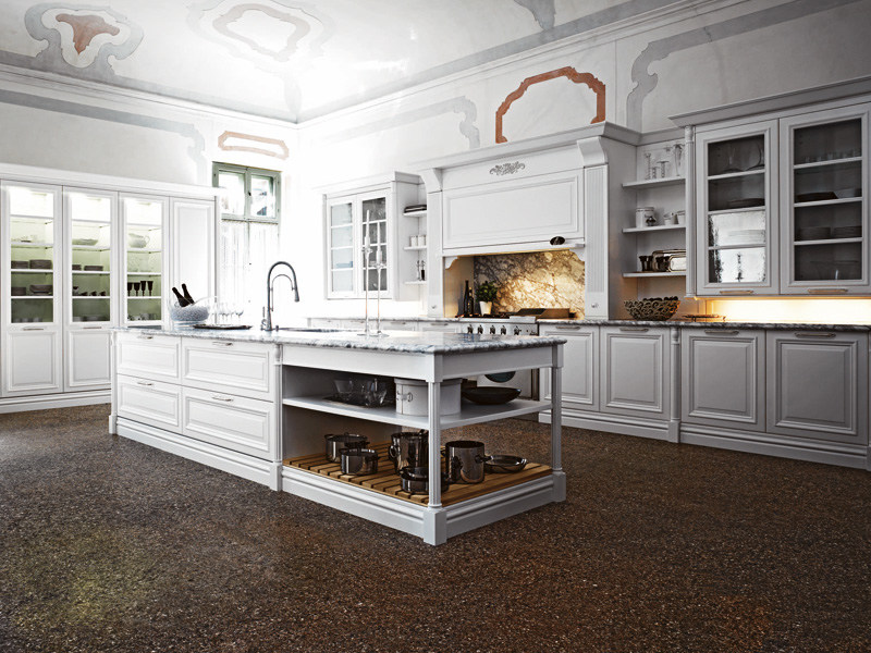 Lacquered kitchen with island ELITE - COMPOSITION 2 by Cesar Arredamenti